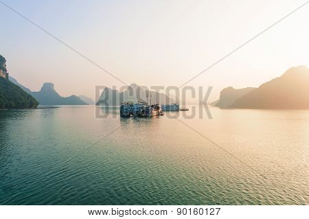 Ha Long Bay Islands And Boats In The Morning