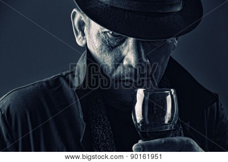 Old Gangster With Mysterious Face