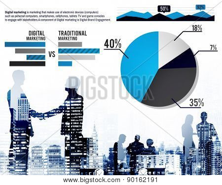 Digital Marketing Graph Statistics Analysis Finance Market Concept poster
