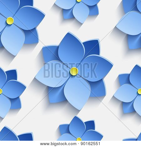 Seamless Pattern With Blue Summer Flowers Violets