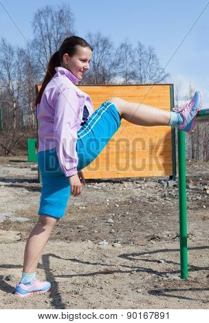 Young Woman In Suit Fitness Aerobics
