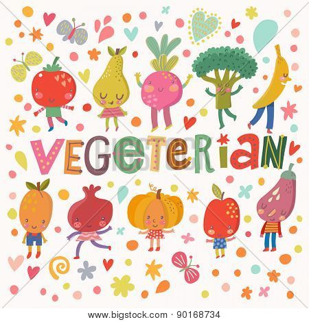 Lovely vegeterian food concept card with sweet fruits and vegetables in vector. Tasty apple, eggplant, apricot, broccoli, beet, pear, tomato, banana, pomegranate and pumpkin in funny cartoon style