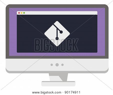 vector illustration of personal computer display showing window with development process on it