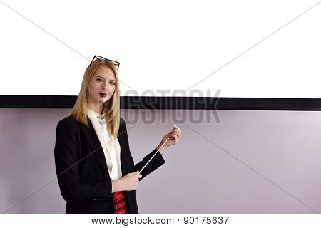 Woman Presenting The Project