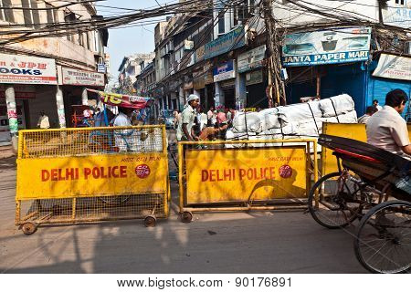 Road Barriers Of Delhi Police Stands Around The Old Part Of The Town