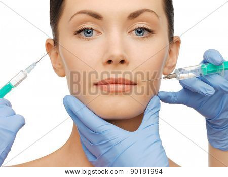 health and beauty concept - woman getting dermall fillers injection poster