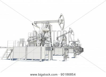 Row of Oil and Gas Pump Jacks