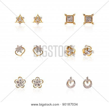 Collage of diamond earrings