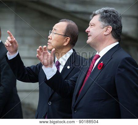 Petro Poroshenko And Ban Ki-moon