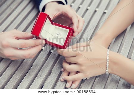 wedding proposal with diamond ring