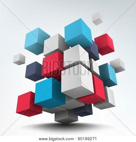 Composition with 3d cubes.