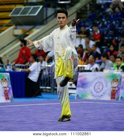 JAKARTA, INDONESIA - NOVEMBER 15, 2015: Thanh Thung Nguyen of Vietnam performs the movements in the men's Taijiquan event at the 13th World Wushu Championship 2015 held in Istora Senayan, Jakarta.