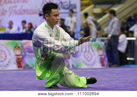 JAKARTA, INDONESIA - NOVEMBER 15, 2015: Fredy Fredy of Indonesia performs the movements in the men's Taijiquan event at the 13th World Wushu Championship 2015 held in Istora Senayan, Jakarta.