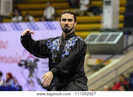 JAKARTA, INDONESIA - NOVEMBER 15, 2015: Roque Neto of Brazil performs the movements in the men's Taijiquan event at the 13th World Wushu Championship 2015 held in Istora Senayan, Jakarta.