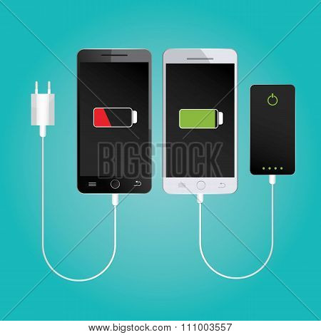 Modern illustration of mobile charging. Powerbank on blue background