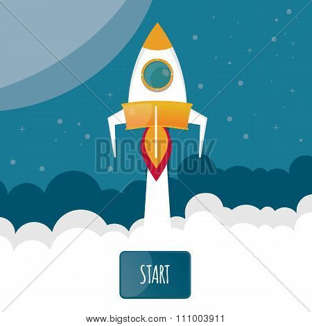 Modern Vector Illustration Of Rocket.