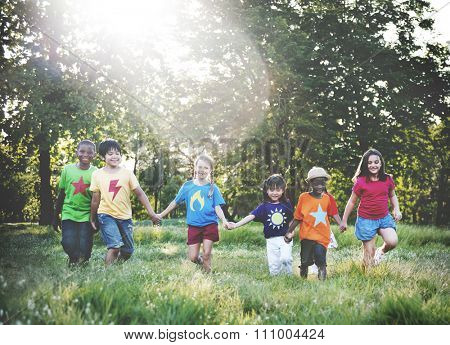 Friends Friendship Child Childhood Children Cheerful Concept