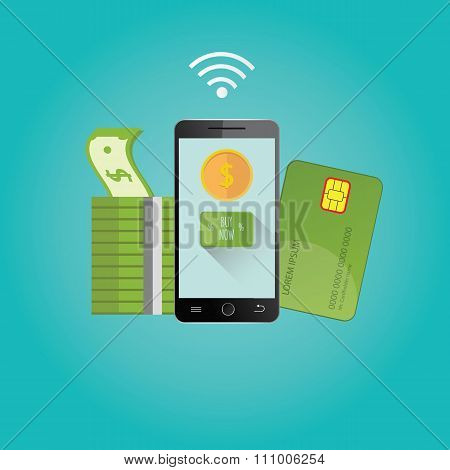 Modern Vector Illustration Of Online Payments.