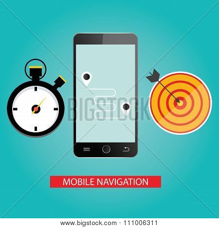 Modern Vector Illustration Of Mobile Navigation.