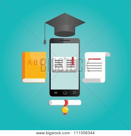 Modern Vector Illustration Of Online Learning
