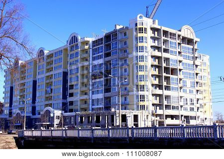 Construction Of New Multistorey Modern House With Hoisting Crane