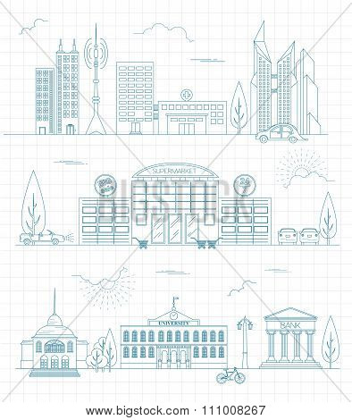 Cityscape conceptual graphic template. Urban, countryside, industrial buildings and outdoor scene