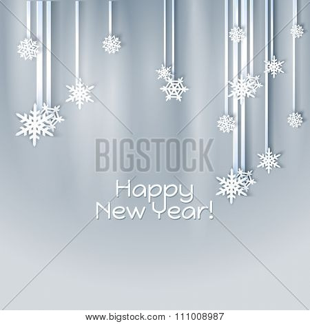 Snowflakes holiday frame. Winter blue card for web banner invitation. Christmas background.