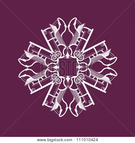 Snowflake composed of toboggans