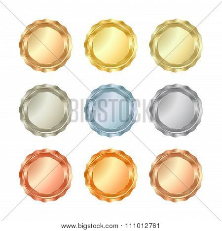 Vector Set Of Glossy Blank Templates For Medals, Coins, Buttons, Metal Gold, Red Gold, White Gold, P