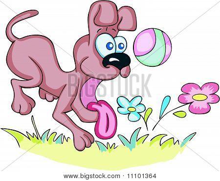 Crazy dog playing a ball