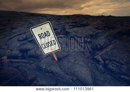 Road closed by lava in Hawaii island