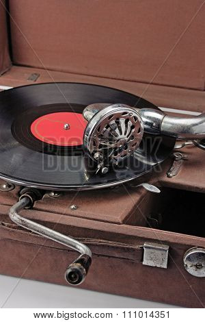 Old Phonograph And Vinyl Record