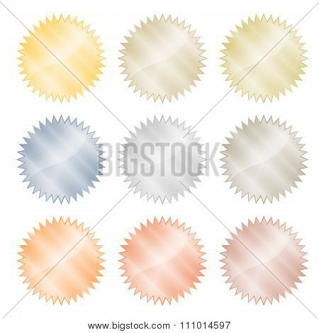 Blank Glossy Stickers With Reflections Vector Gold, Red Gold, Platinum, Silver, Bronze, Copper, Alum