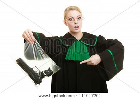 Woman Lawyer With Gun Bag Marked Evidence For Crime.
