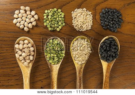 Dried Legumes And Rice.