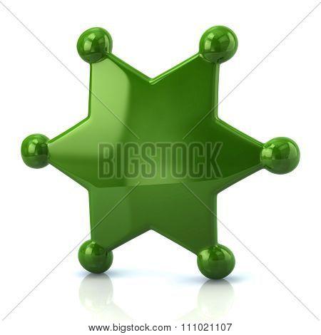 Green Sheriff Star Badge
