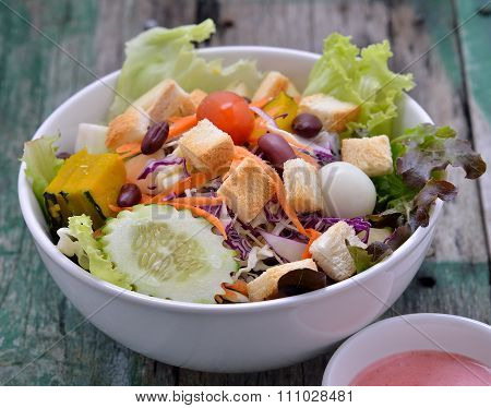 Fresh Salad On Woodden