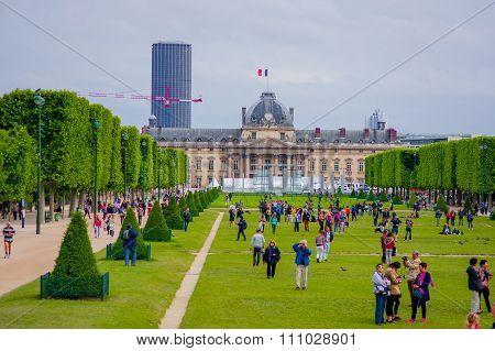 Beautiful view of fields in Champ de Mars, Paris