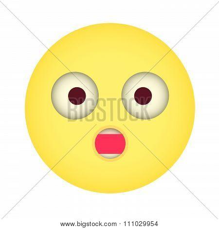 Flat Suprise Emoticon. Wonder Emoticon. Blushed Emoticon. Isolated Vector Illustration On White Back