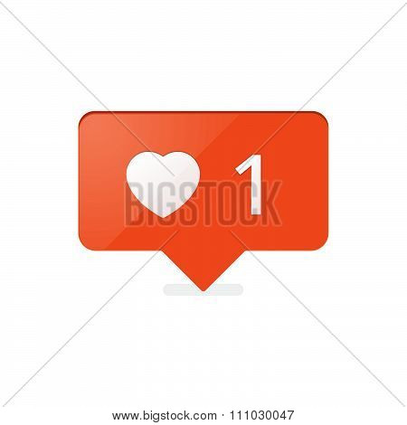 Like Counter Notification Icon Orange Color. Vector Stock.