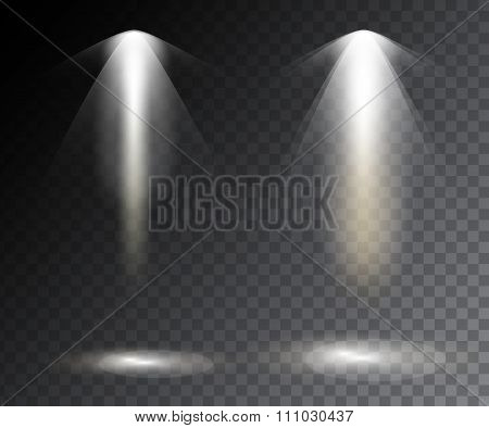 Vector Spotlights. Scene. Light Effects. Vector Stock.