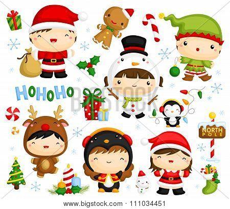 Cute Kids in Christmas Costume Vector Set