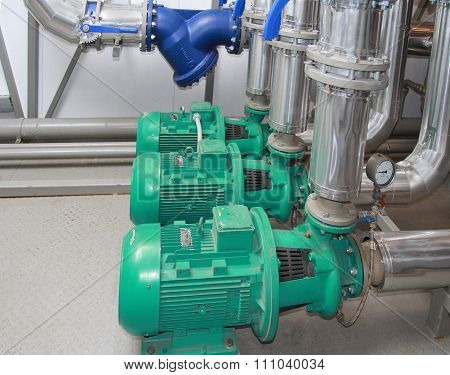 Group of the powerful industrial pumps established in a boiler-house