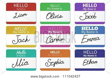Name tag vector set. Hello my name is