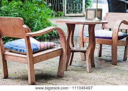 Wooden Furniture Decorated In Garden