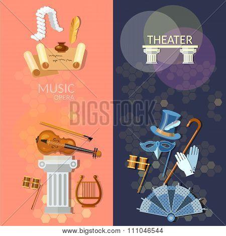 Theatre Flat Banner Theater Musical Operetta Literature Dramaturgy