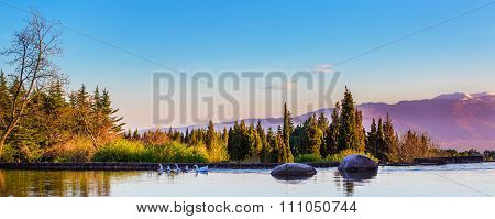 Beautiful Panorama Background With Lake, Stone, Geese, Mountains On The Blue Sky