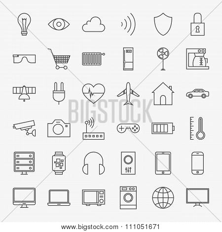 Line Internet of Things Design Icons Big Set. Vector Set of 36 Modern Thin Line Icons for Website and Mobile. poster