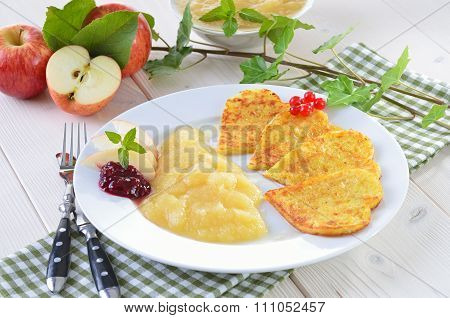 Heart-shaped potato pancakes