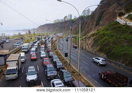 Lima, Peru - November 4, 2015: The Road Over The Ocean In The Di